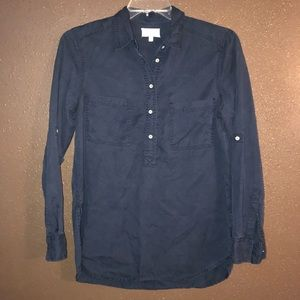 LOU & GREY Button Front Long Sleeves Navy Small S
